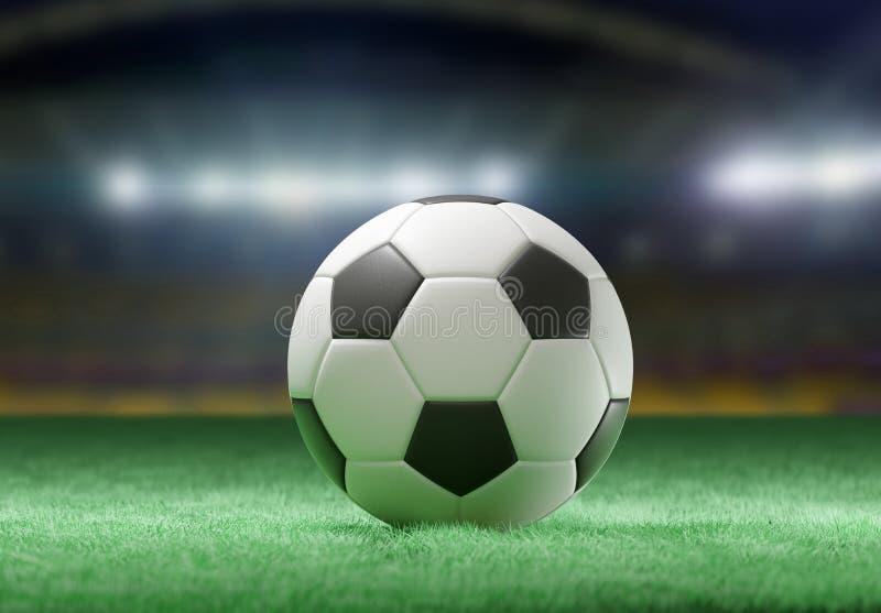 在体育场的领域的橄榄球球- 3d翻译 皇族释放例证