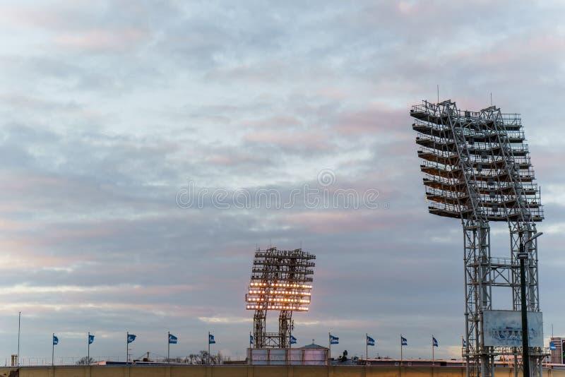 在体育场Petrovsky的泛光灯 俄罗斯,圣徒Petrsburg 18 03 2017年 免版税图库摄影