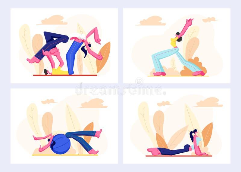 在体育穿戴设置的人们允诺健身、有氧运动户外、人和妇女健康体育生活方式,字符皮拉提斯 库存例证