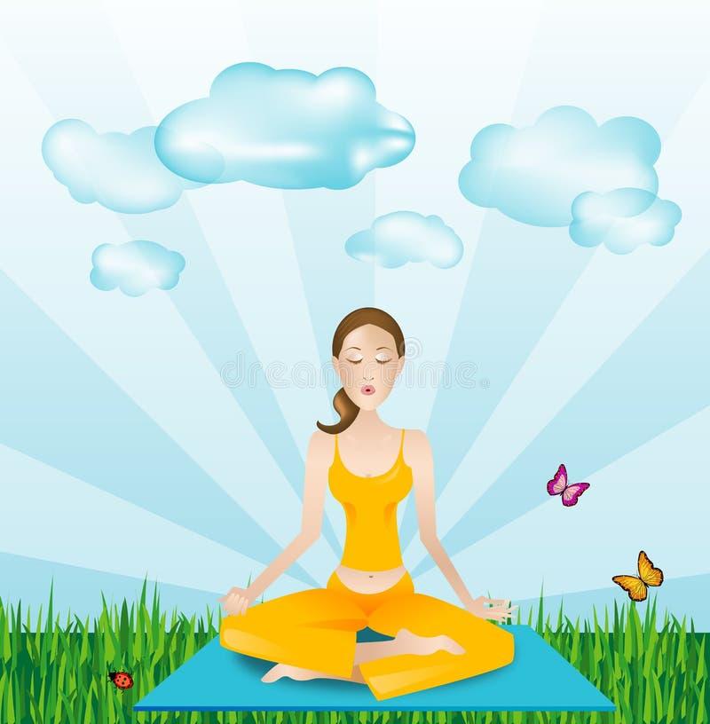 在体育运动瑜伽之外的女孩 库存例证