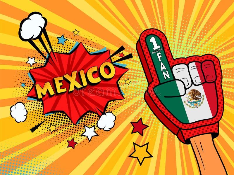 在体育迷的国旗手套的男性手提高了庆祝与星和云彩的胜利和墨西哥讲话泡影 Vect 皇族释放例证