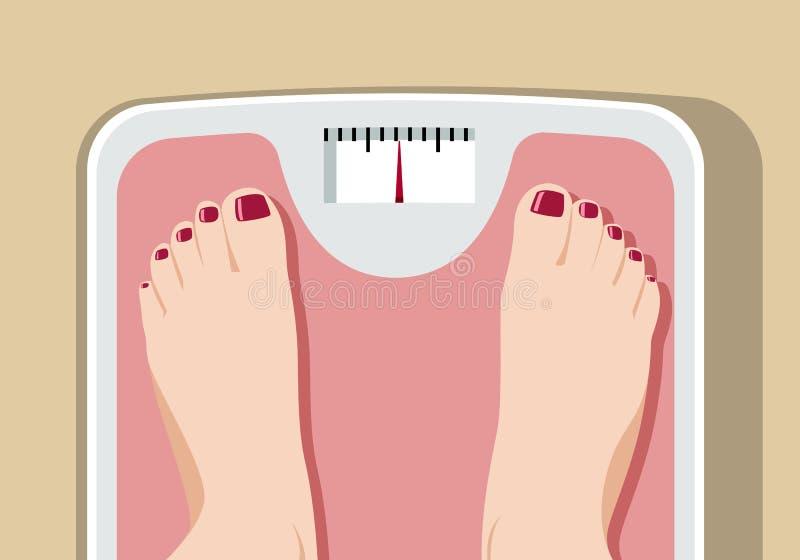 在体重计的脚 库存例证