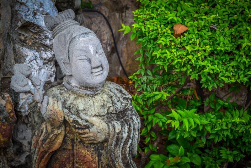 在佛教寺庙的雕象在曼谷 图库摄影
