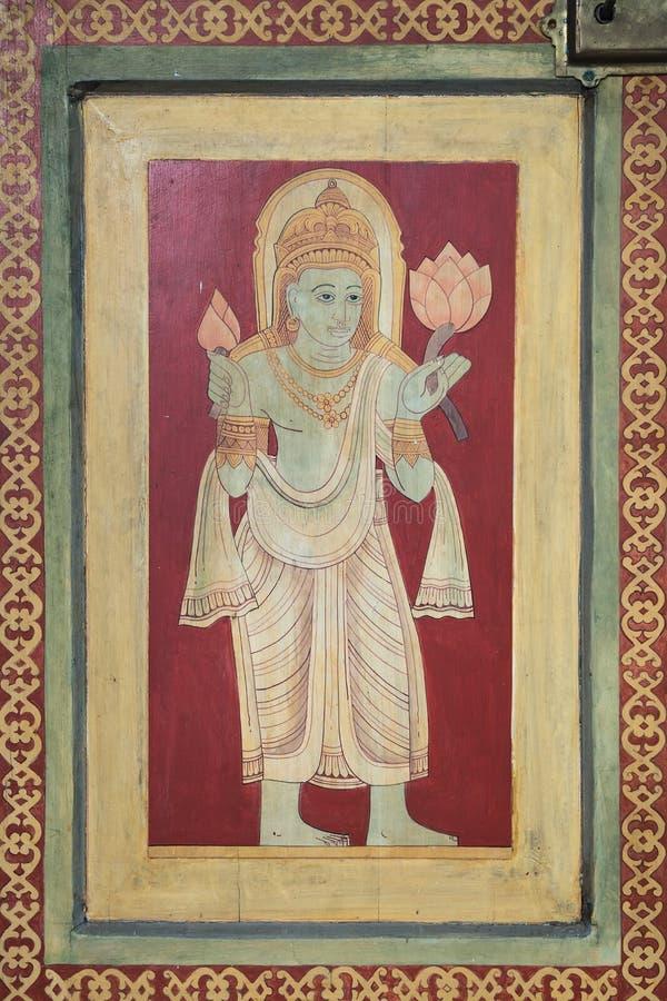 在佛教寺庙里面的宗教绘画在Mirissa Sri Lan 免版税库存图片