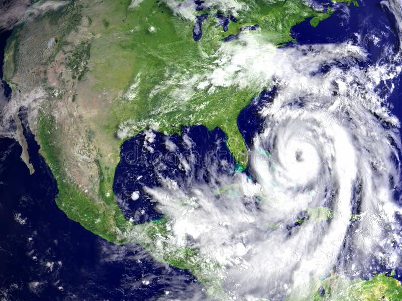 在佛罗里达上的飓风马修 库存例证