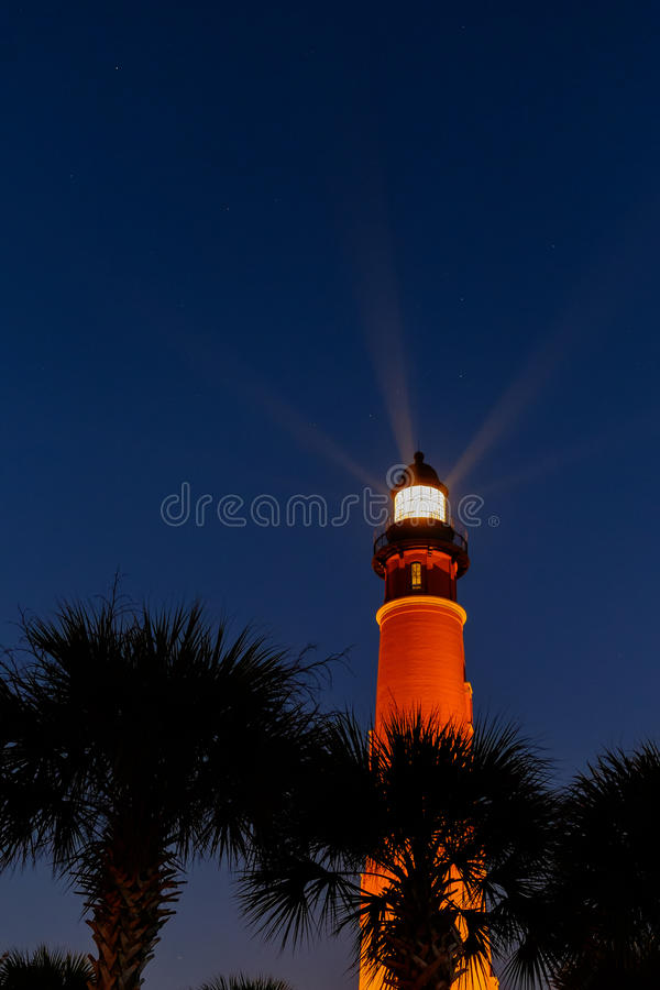 在佛罗里达海岸的Ponce德利昂灯塔在su之前 免版税图库摄影