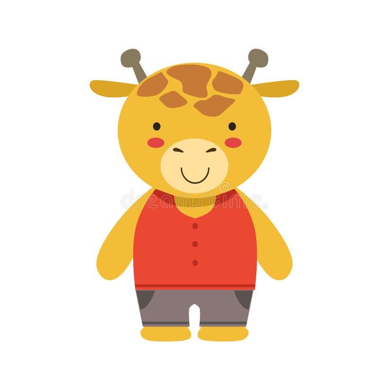 在作为小男孩穿戴的红顶和布朗裤子逗人喜爱的玩具小动物的微笑的长颈鹿 向量例证