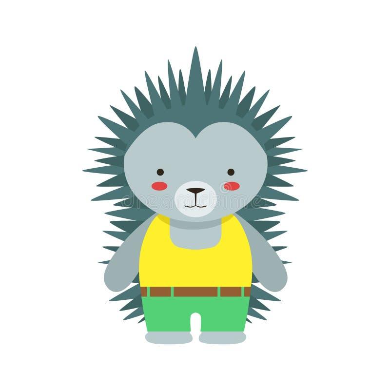 在作为小男孩穿戴的黄色上面和绿色裤子逗人喜爱的玩具小动物的猬 库存例证