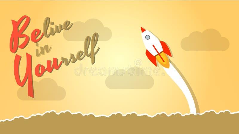 在你自己的Belive -敢是你自己 在生活中冒险并且为成功移动 决心,勇气,信仰的概念,输入 向量例证