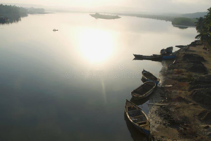 在佩尔内姆北部果阿附近的河风景 库存照片
