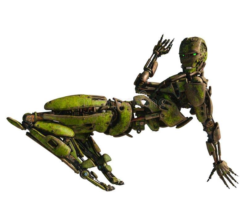 在使命的靠机械装置维持生命的人机器人 库存例证