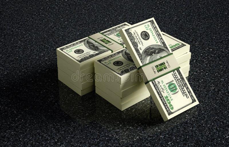 在使有大理石花纹的地板上的100美元钞票捆绑 库存照片