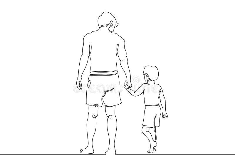 在使用与她的小儿子的海滩父亲的连续的一条唯一凹道线 皇族释放例证