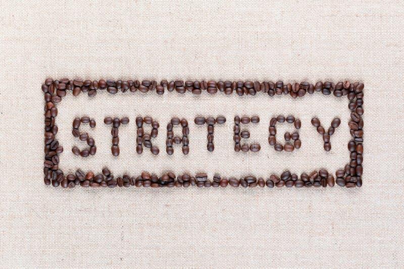 在使用咖啡豆所有被做的长方形里面的词战略从上面被射击,排列在中心,关闭  免版税库存图片