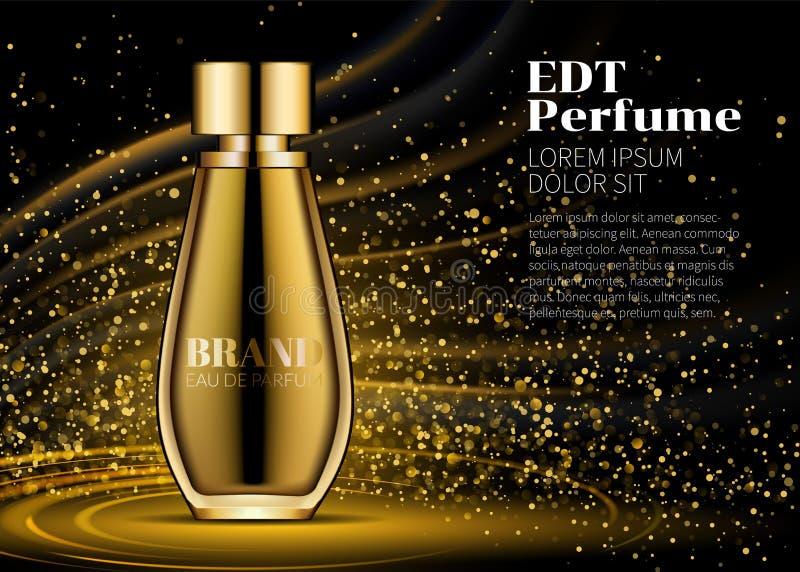 在使目炫背景的妇女Parfume现实金瓶大模型 照明设备和星金黄bokeh 在玻璃包含 向量例证
