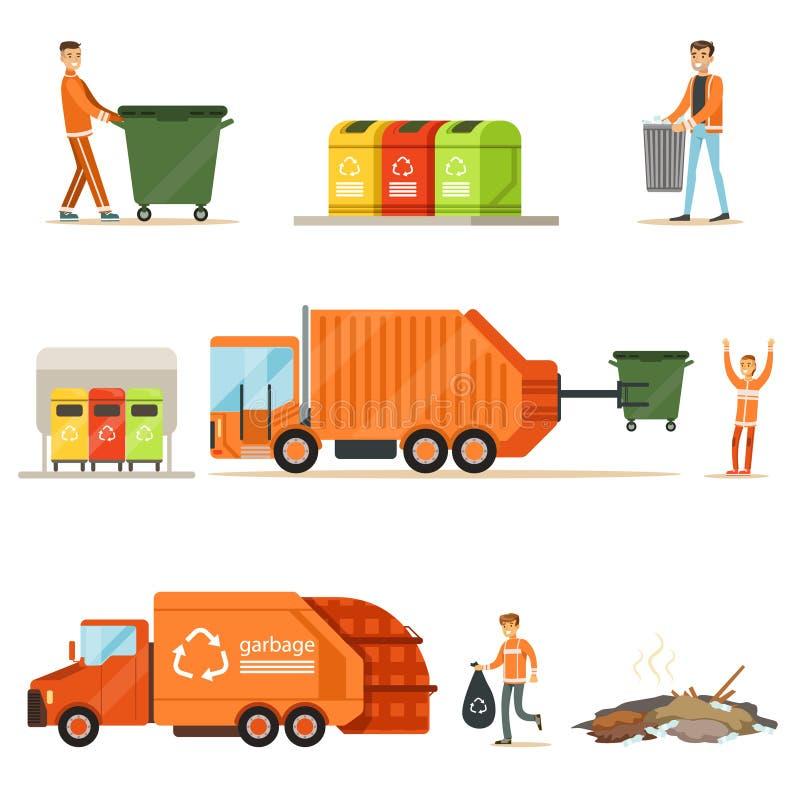 在例证工作系列的垃圾收集工与微笑的回收和废收集的工作者的 向量例证