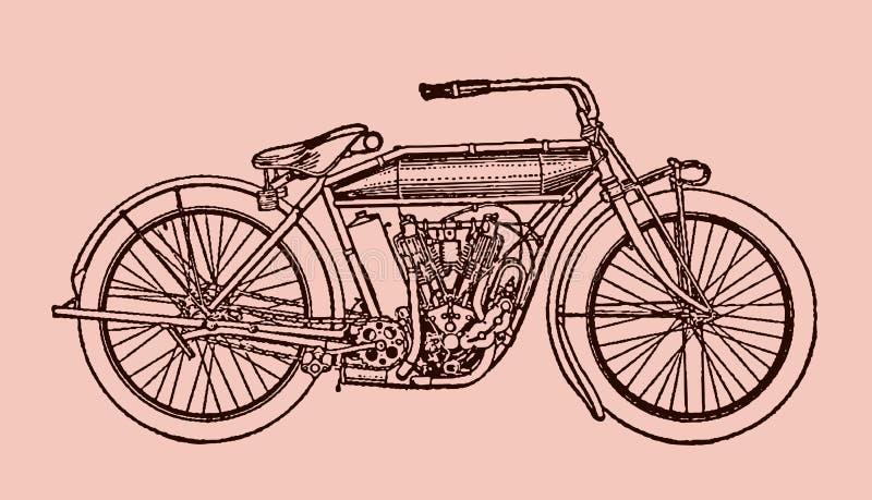 在侧视图的经典摩托车 皇族释放例证