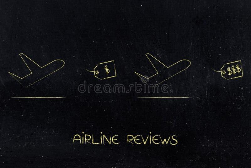 在便宜和昂贵的价牌,航空公司revie旁边的飞机 皇族释放例证