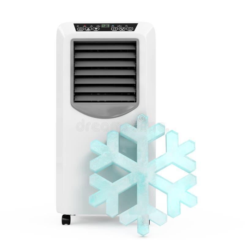 在便携式的流动室空气Condi前面的冰晶雪花 向量例证