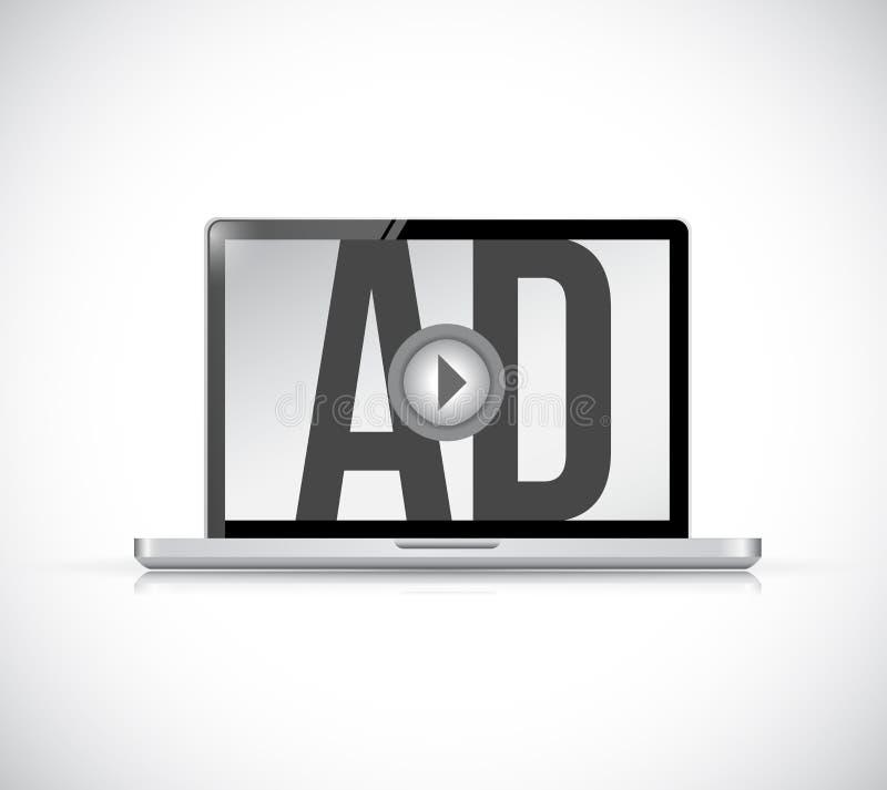 在便携式计算机上的戏剧广告 3d概念被回报的例证图象 向量例证