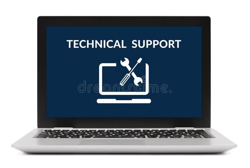 在便携式计算机屏幕上的技术支持概念 查出 免版税图库摄影