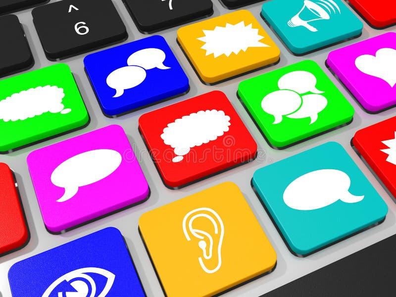 在便携式计算机键盘的社会媒介标志钥匙  皇族释放例证