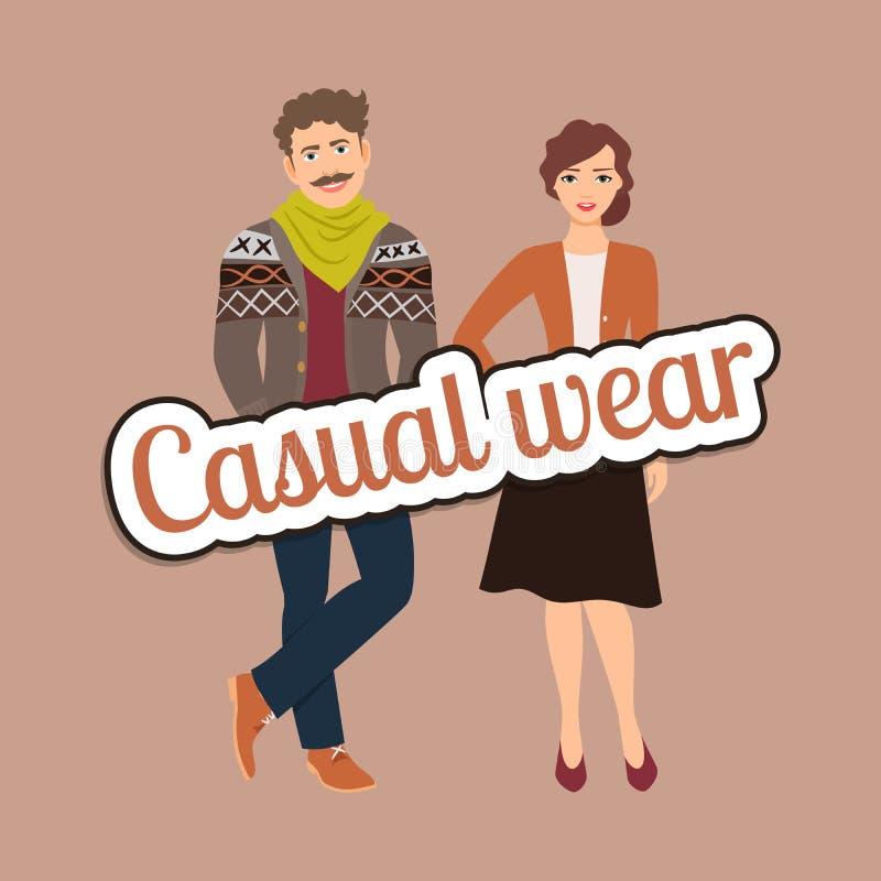 在便衣样式的时尚夫妇 库存例证