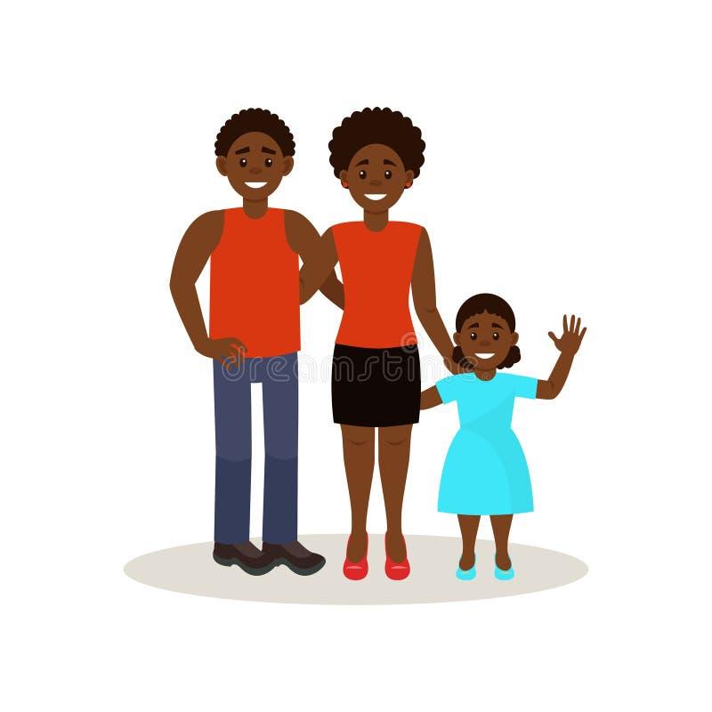 在便衣,在白色背景的愉快的家庭观念传染媒介例证的微笑的美国黑人的黑家庭 向量例证