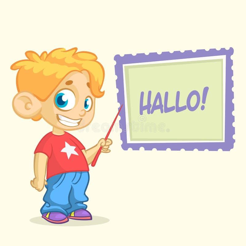 在便装样式的动画片年轻白肤金发的男孩字符给指向whiteboard穿衣 一个小男孩的传染媒介例证 库存例证