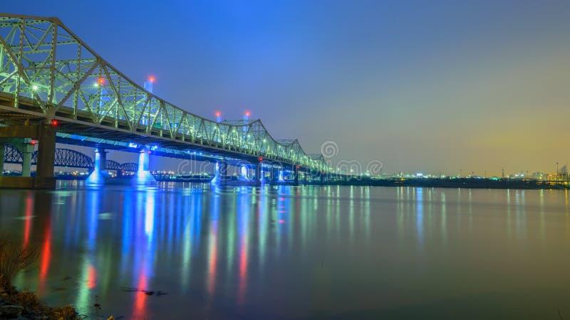 在俄亥俄河的桥梁 库存照片