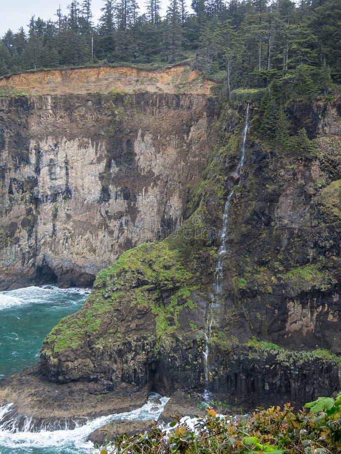 在俄勒冈海岸的瀑布 库存照片