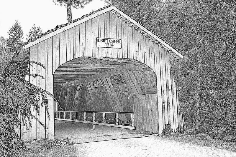 在俄勒冈铅笔剪影的漂泊小河被遮盖的桥 免版税库存照片