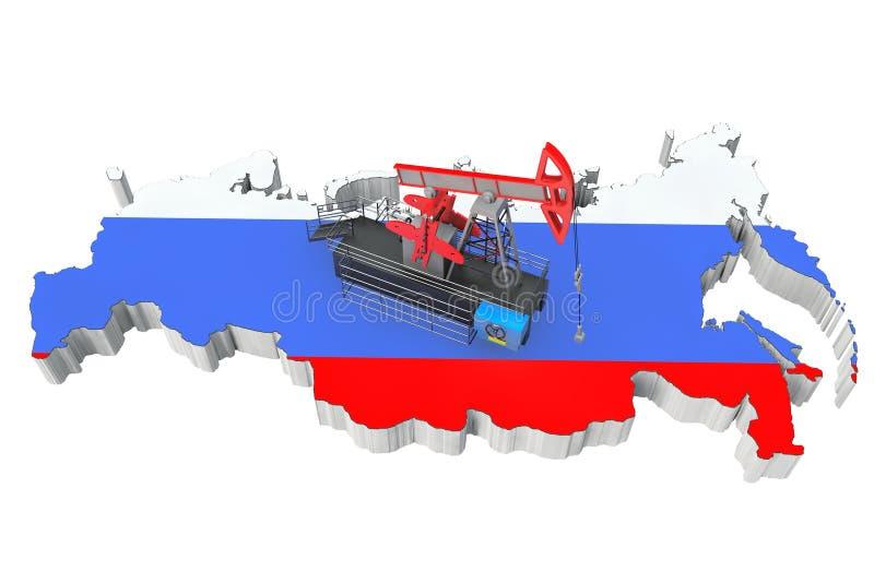 在俄罗斯地图的油泵 库存例证