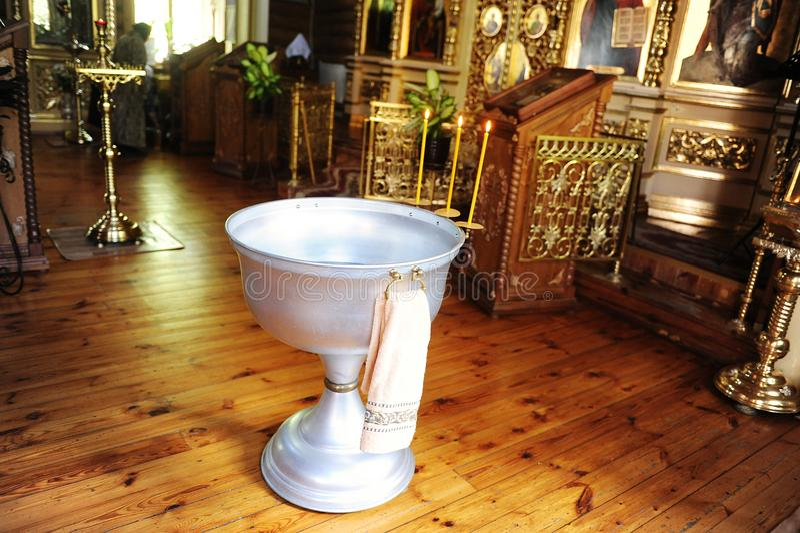 在俄罗斯正教会的洗礼仪式字体 免版税库存照片