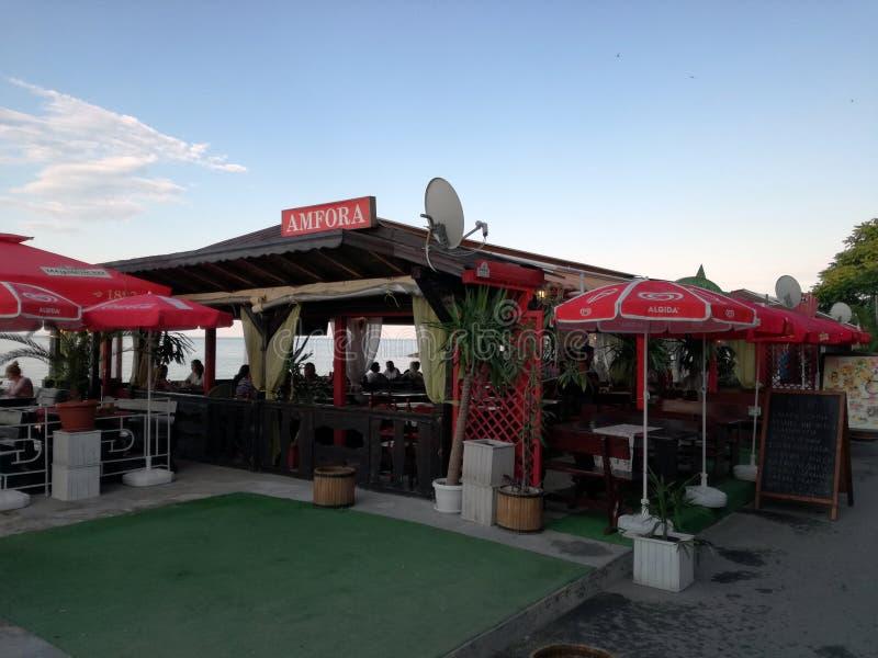 在保加利亚的黑海海岸的咖啡馆 波摩莱 免版税库存照片