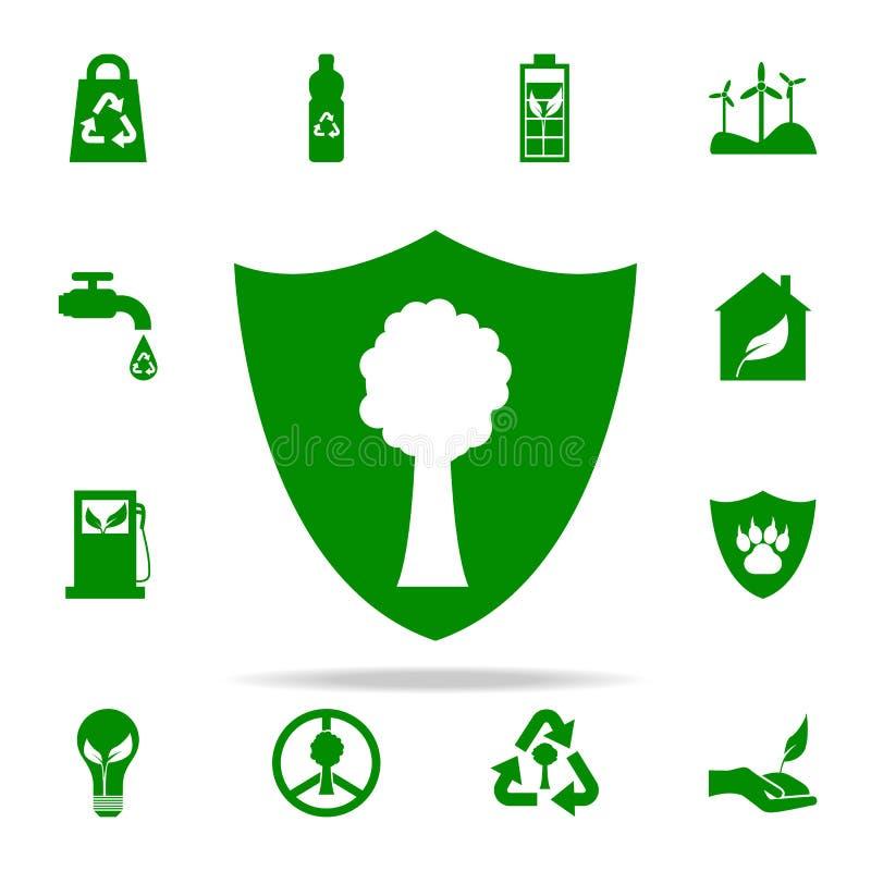 在保护绿色象下的木头 网和机动性的绿色和平象全集 皇族释放例证