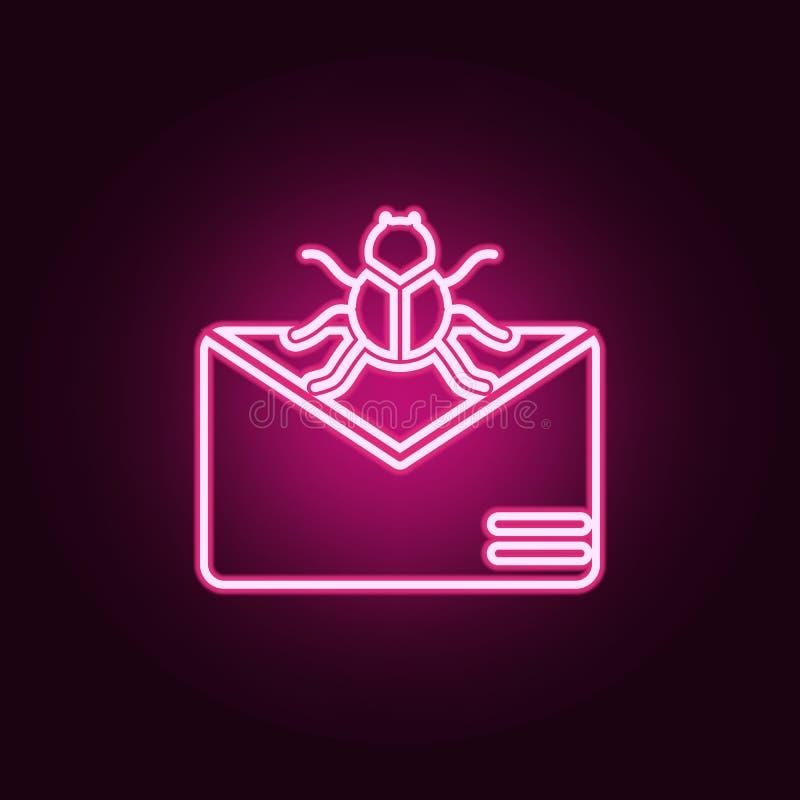 在信件象的病毒 网络安全的元素在霓虹样式象的 网站的简单的象,网络设计,流动应用程序,信息 向量例证