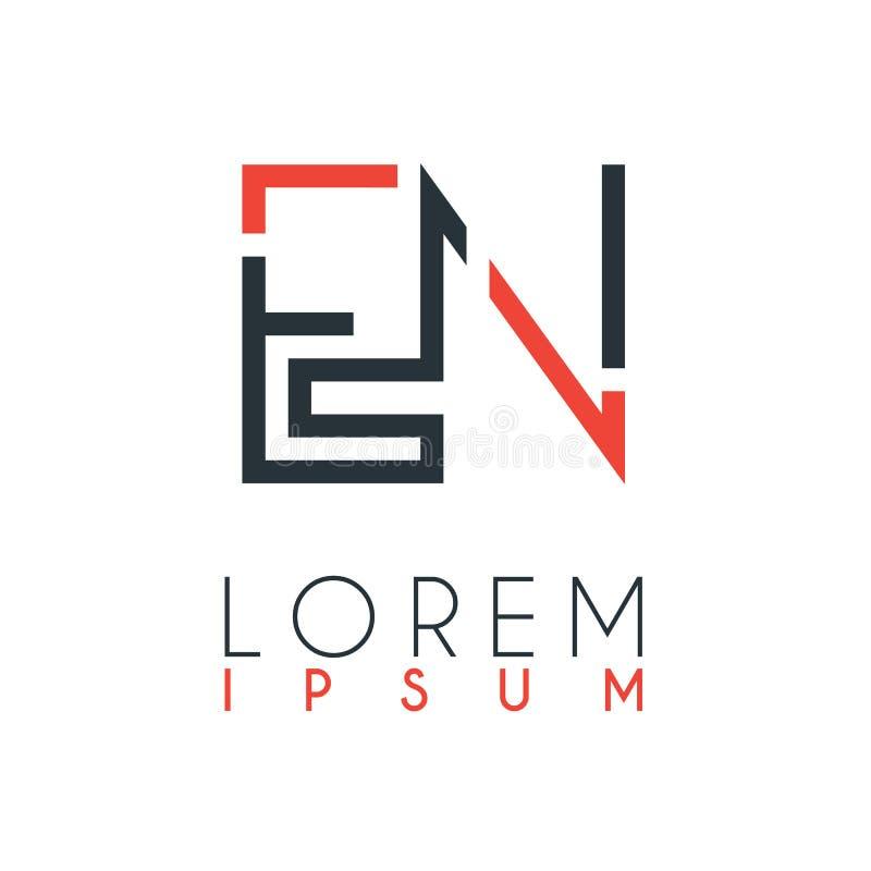 在信件E和字母N或EN之间的商标与某一距离和连接由橙色和灰色颜色 库存例证
