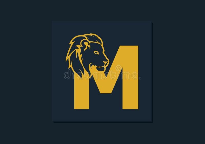 在信件M里面的狮子头 摘要,略写法的,品牌身份,公司,公司,实体名称创造性的象征 向量例证