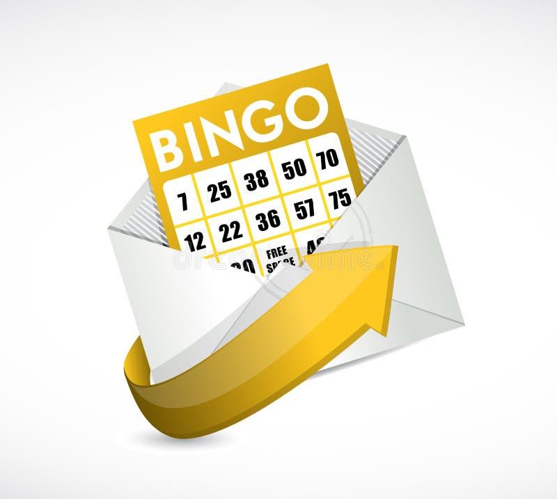 在信封例证里面的宾果游戏卡片 皇族释放例证