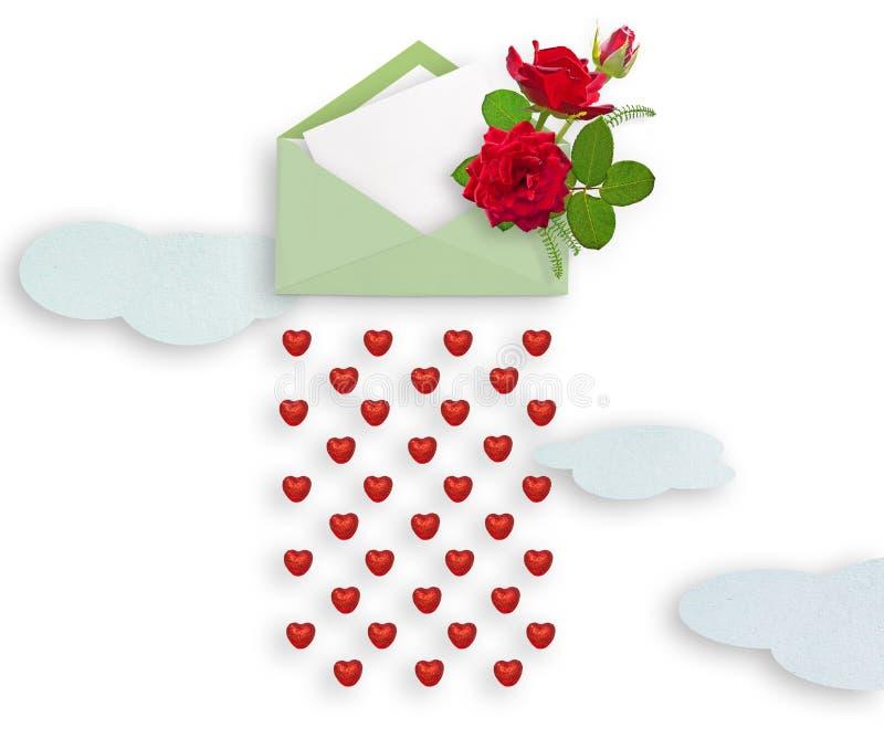 在信封和纸的英国兰开斯特家族族徽为文本覆盖 花束红色上升了 概念亲吻妇女的爱人 图库摄影