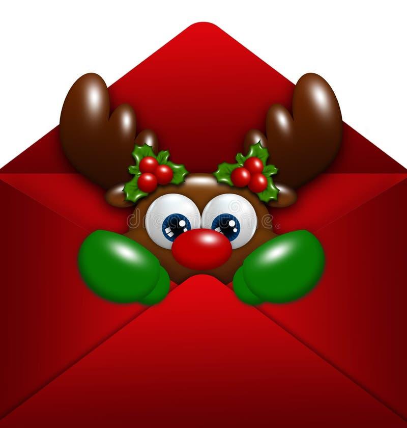 在信封的圣诞节驯鹿在白色 库存例证