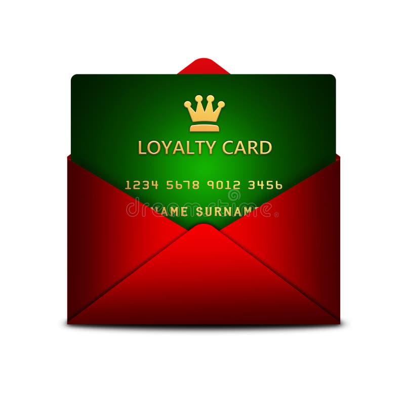 在信封的忠诚卡片在白色 库存例证
