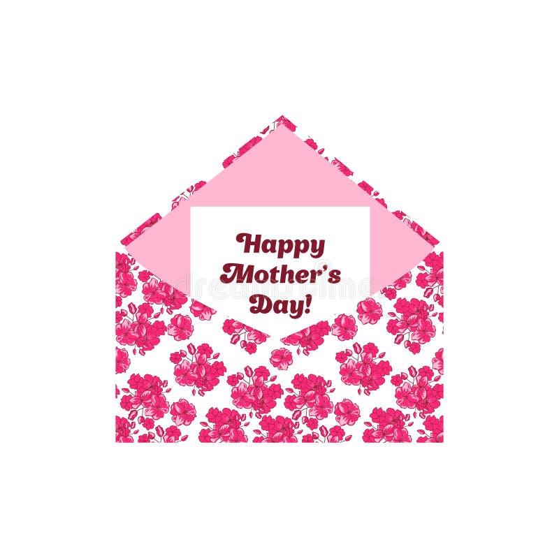 在信封的愉快的母亲节问候信件 桃红色花 库存例证