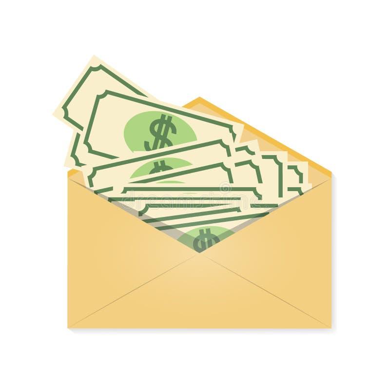 在信封的金钱 工资 一件财政礼物,奖励 在轻的背景隔绝的传染媒介例证 库存例证