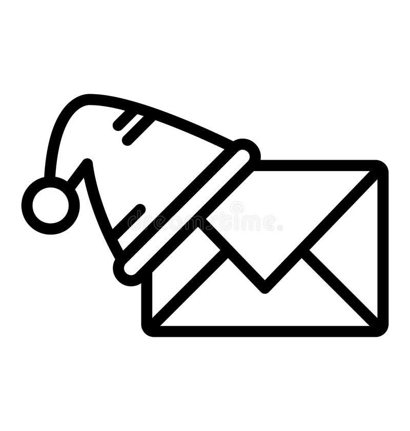 在信封,在信封的所有样式帽子可以容易地修改或编辑的圣诞节信件被隔绝的传染媒介象,christma的帽子 向量例证