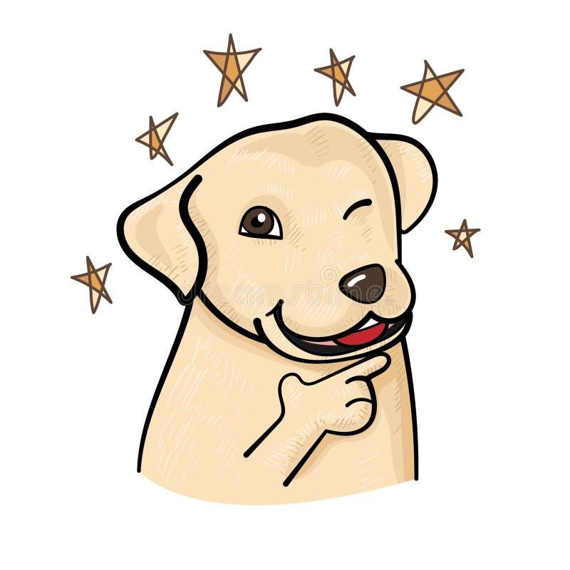 在信心姿势的逗人喜爱的拉布拉多狗 库存例证