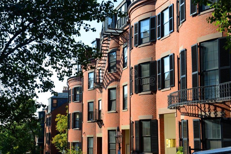 在信标岗,波士顿,美国的历史建筑 免版税库存图片