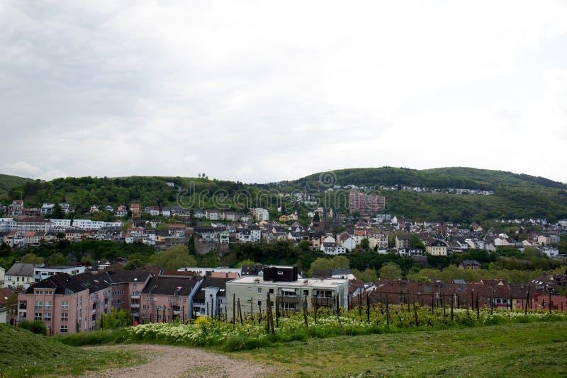 在修造的外部的看法在bingen是莱茵在黑森德国 库存照片
