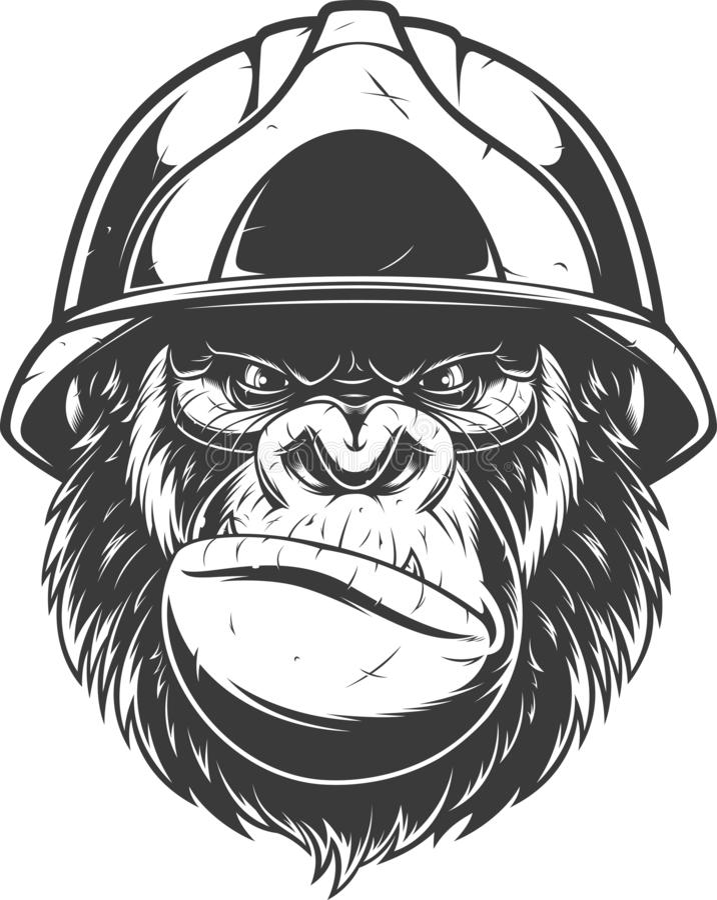 在修造的盔甲的大猩猩 向量例证